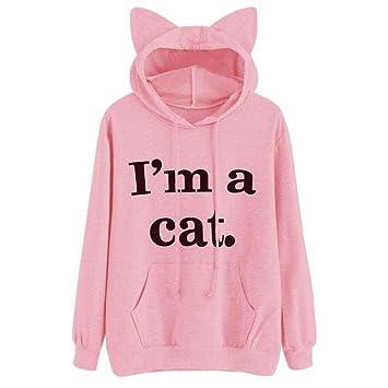 LILICAT Mujeres Sudaderas con Capucha de Gato, Blusa Camiseta 2017 Chic Soy un Gato Carta Impresa de Manga Larga con Bolsillo (M, Rosa): Amazon.es: Hogar