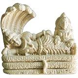 Salvus App SOLUTIONS Traditional Handmade White Marble dust (Marble Powder) Vishnu Ji With Laxmi Statue