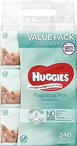Huggies Baby Wipes Fragrance Free Value Bundle Pack (3x80 Pack)