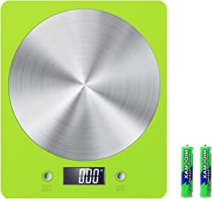 Kitchen Scale, Digital Food Weighting Scale 11lb/5000g Electronic Cooking Food Scale, Weighing Scales with LCD Display, Accurate Gram, for Home,for Kitchen, Batteries Included -TOBION (LARGE-G, Green)