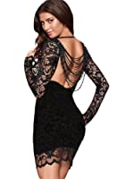 made2envy Lace Open Back 'Nude' See Through Beaded Bodycon Mini Dress