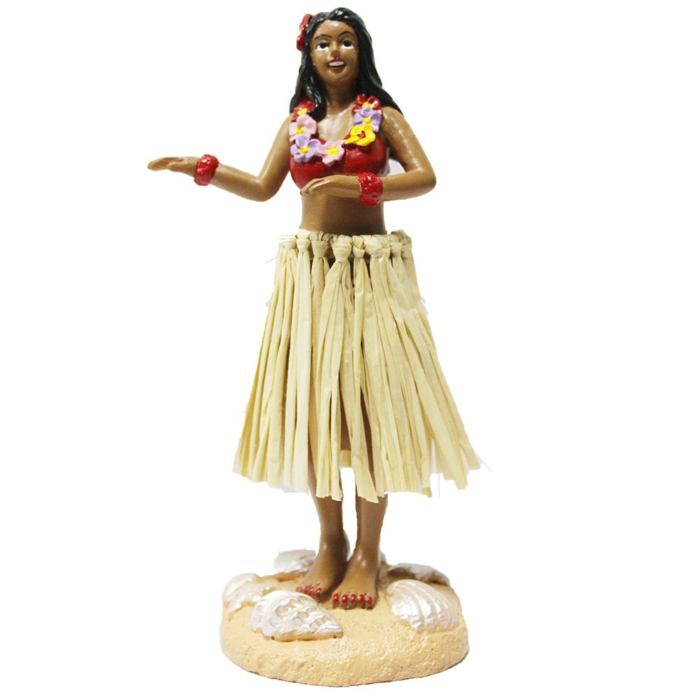 Hula Girl Mini Size Dashboard Doll 4.5'' High with Raffia Skirt (Multi-Color) by SMYER