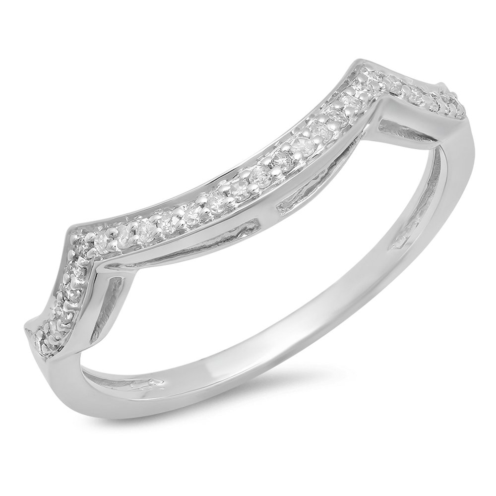 Dazzlingrock Collection 0.15 Carat (ctw) 10K Round Diamond Stackable Wedding Contour Band Guard Ring, White Gold, Size 7.5