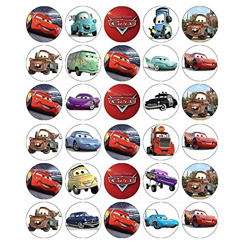 30 x Edible Cupcake Toppers - Cars Lightning McQueen Themed Collection of Edible Cake Decorations | Uncut Edible Prints on Wafer Sheet  -