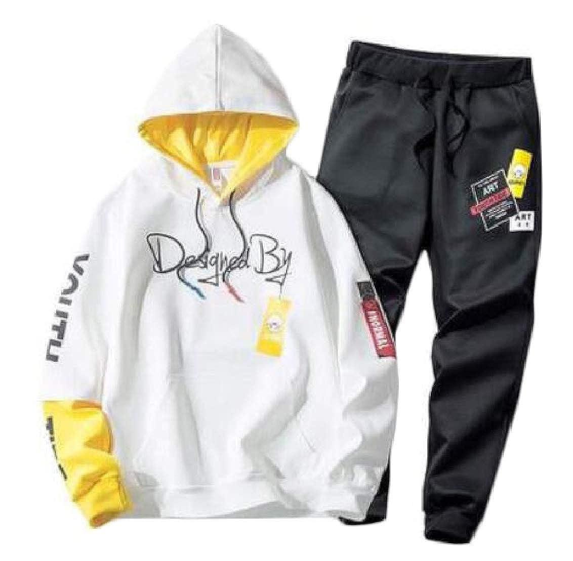 FieerMen Hood Hip Hop Flower Print Leisure Oversize Sweatshirt Pants Set