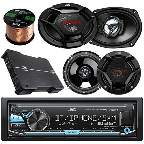 "JVC KD-X330BTS AM/FM USB AUX Car Stereo Receiver Bundle Combo With 2x JVC CSDR6930 6x9"" 3-Way Vehicle Coaxial Speakers + 4x CSDR620 6.5"" Audio Speaker + Dual XPE4700 800w Amplifier + 50Ft 16g Wire"