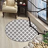 Grey and White Round Area Rug Damask Geometric Middle Eastern Effects Arabesque Artful Design PrintOriental Floor and Carpets Dimgrey White