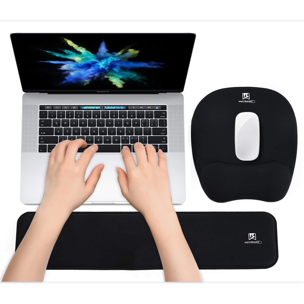 WB WEIRDBEAST Ergonomic Keyboard Wrist Rest Pad and Mouse Pad Hand Support for Laptop Computer Wrist Rest Support Cushion Nonslip Memory Foam Set for Office Gaming Easy Typing & Pain Relief - Black by WB WEIRDBEAST
