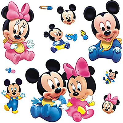 Wall Sticker Decal Mickey and Minnie Mouse Kids Room Decor Mural Nursery Daycare and Kindergarten DIY Self adhesive Removable 8x22 Inch