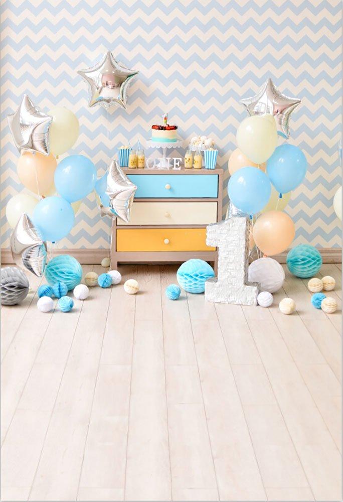 laeacco 1st Birthadyパーティー背景3 x 5ft写真バックドロップ内部ブルーバルーンペーパーボールケーキSmashテーブル1年古い赤ちゃん背景Stars Stripes壁木製床シーン   B07BRMQHNQ