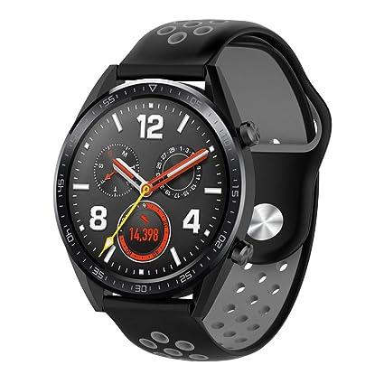 Kokymaker Silicona Correas para Smartwatch Huawei Watch GT Ajustable de Acero Inoxidable 22mm Correa para Huawei Watch GT Reloj