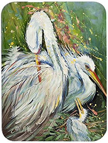 Carolines Treasures JMK1139LCB White Egret In The Rain Glass Cutting Board, Large B00WACHV9E