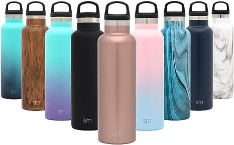 Simple Modern Ascent 500mL (17oz) Botella De Agua - Acero Inoxidable 18/8, Doble Pared y Aislamiento Al Vacío Jarra Petaca Cantimplora-Oro Rosa