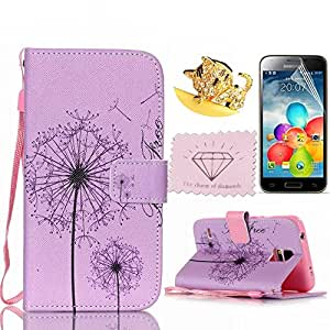 S5mini Case, Charm Of Diamonds Painting Dandelion Flip Wallet Cover Stand Leather Case For Samsung Galaxy S5mini G800 Magnetic Phone Pouch With Card Slots +Screen Protector +Dust Plug +Clean Cloth