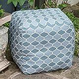 Izabela Peters Designer Waterproof Moroccan Garden Outdoor Cube Pouffe - Grey Badi, Marrakech Collection - Designed, Printed & Handmade in the UK