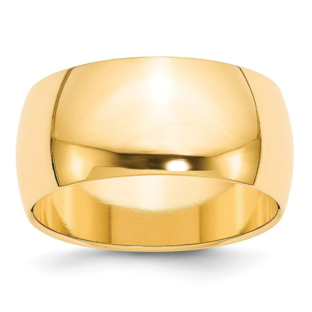 Solid 14k Yellow Gold 10 mm Classic Rounded Wedding Band Ring