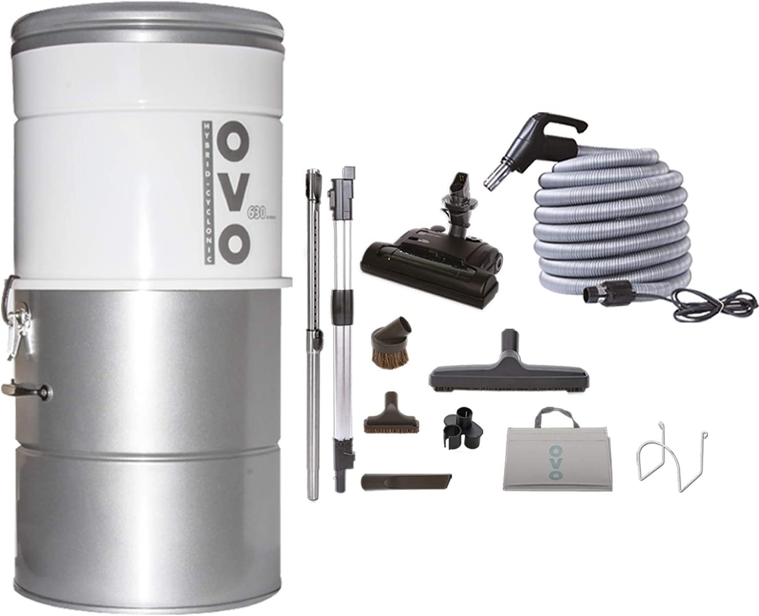 OVO Large and Powerful Central Vacuum System, Hybrid Filtration (With or Without disposable bags), 25L or 6.6 Gal, 630 Air wattsWith 40 ft Carpet Deluxe Accessory Kit included, Sliver (PAK63CD-40)