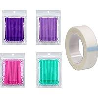 400 Stuks Wegwerp Microborstels Mascara Applicator voor Wimperextensions 4 Kleuren, met Tape