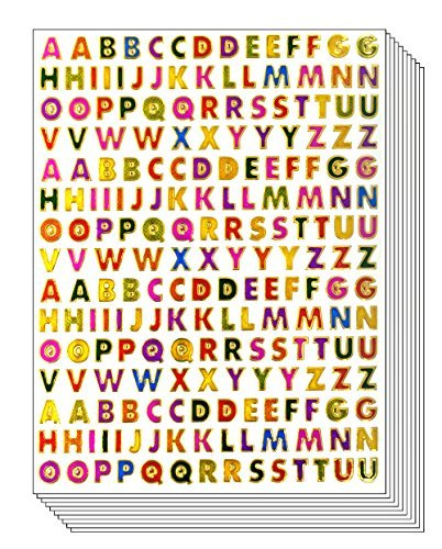 """A to Z Little Stickers High 0.6cm - Colorful Alphabet Letters Self-Adhesive Glitter Metallic Foil Reflective Decorative Scrapbook for Name Photo Card Diary Album Planners (Each Letter High 0.25"""")"""