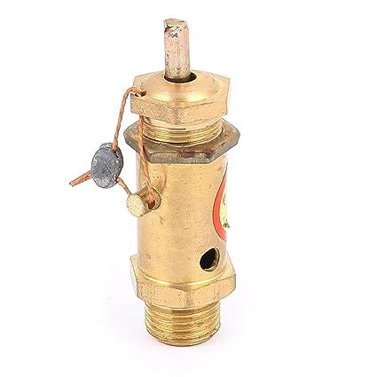 sourcingmap Compresor De Aire Seguridad Alivio Válvula De Presión 13mm Rosca Tono Dorado