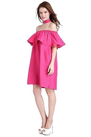 aa86d7ac710d FHKDL Women s Off Shoulder Solid Color Ruffle Short Sleeve Loose Mini Dress  - Pink -