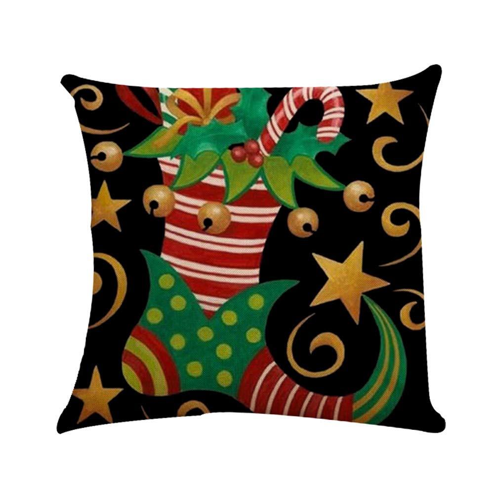 Linen Merry Christmas Home Decorative Pgojuni Throw Pillow Case Waist Cushion Throw Pillow Case Sofa/Couch 1pc 45X45 cm (G)