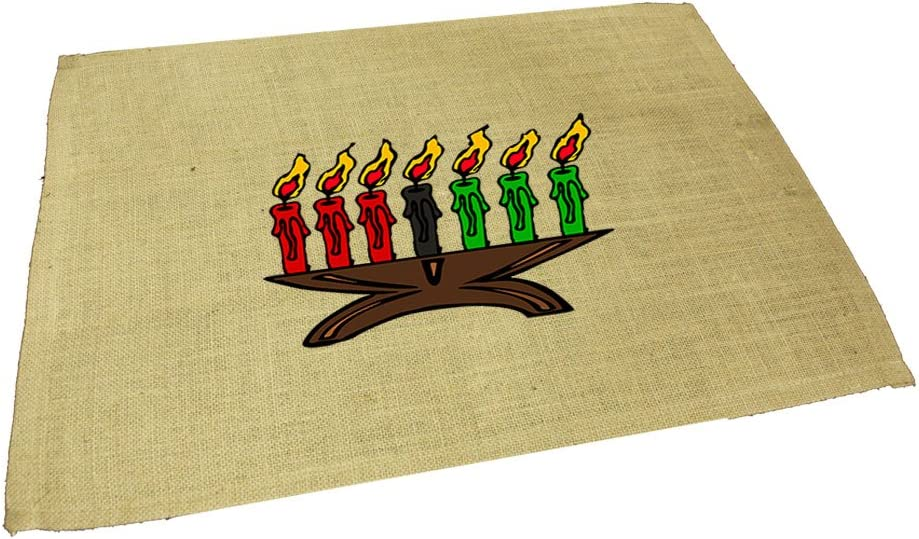 Style In Print Kwanzaa Candles Holiday Image Jute Burlap Placemat
