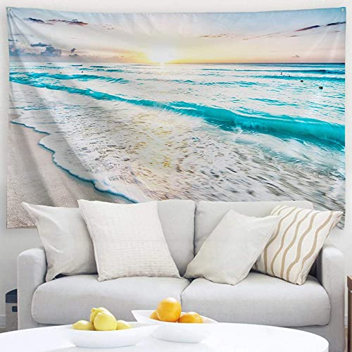 PROCIDA Ocean Tapestry Wall Hanging Sunrise Beach Blue Sea Nature Wall Art For Dorm Bedroom Living Room Nails Included 90 W x 71 L, Sunrise By The Sea