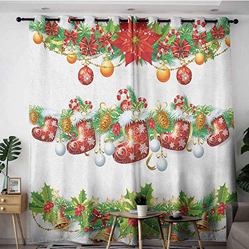 (AGONIU Sliding Door Curtains,Christmas Traditional Garland Designs with Flowers Socks and Bells Mistletoe Candy,Insulated with Grommet Curtains for Bedroom,W72x108L Orange Red Green)
