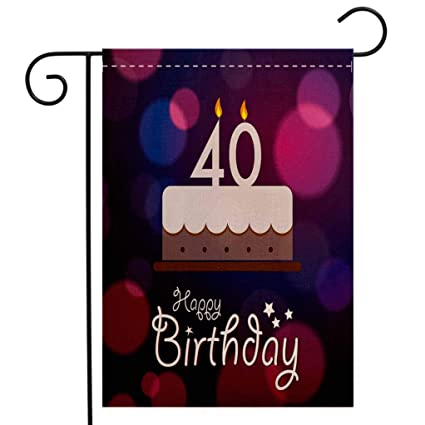BEIVIVI Creative Home Garden Flag 40th Birthday Decorations Big Color Dots And Graphic Cake Candles Hand