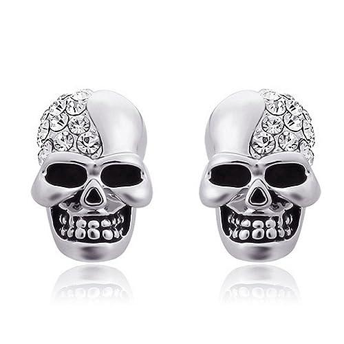 7504c31f0 Skull Stud Earrings with Czech Stones for Men Women Punk Rock Hip Hop Style  Ear Studs Unisex Jewelry: Amazon.ca: Jewelry