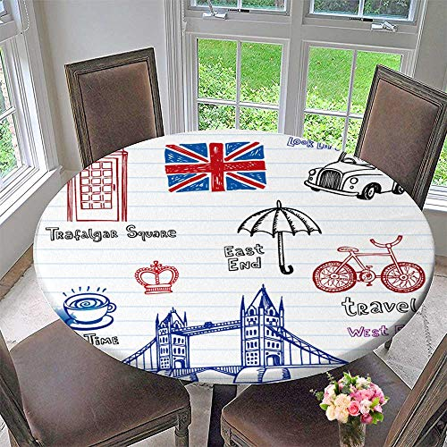Round Polyester Tablecloth Table Cover London Doodles Set for Most Home Decor 31.5