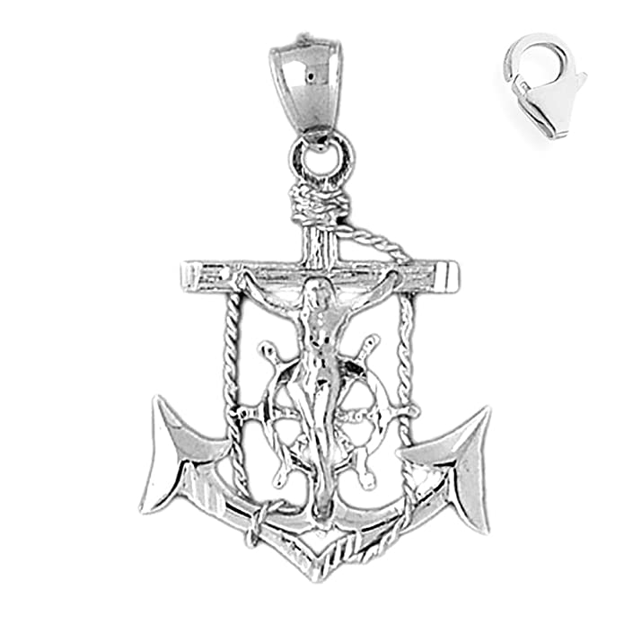 JewelsObsession Sterling Silver 40mm Cross Charm w//Lobster Clasp