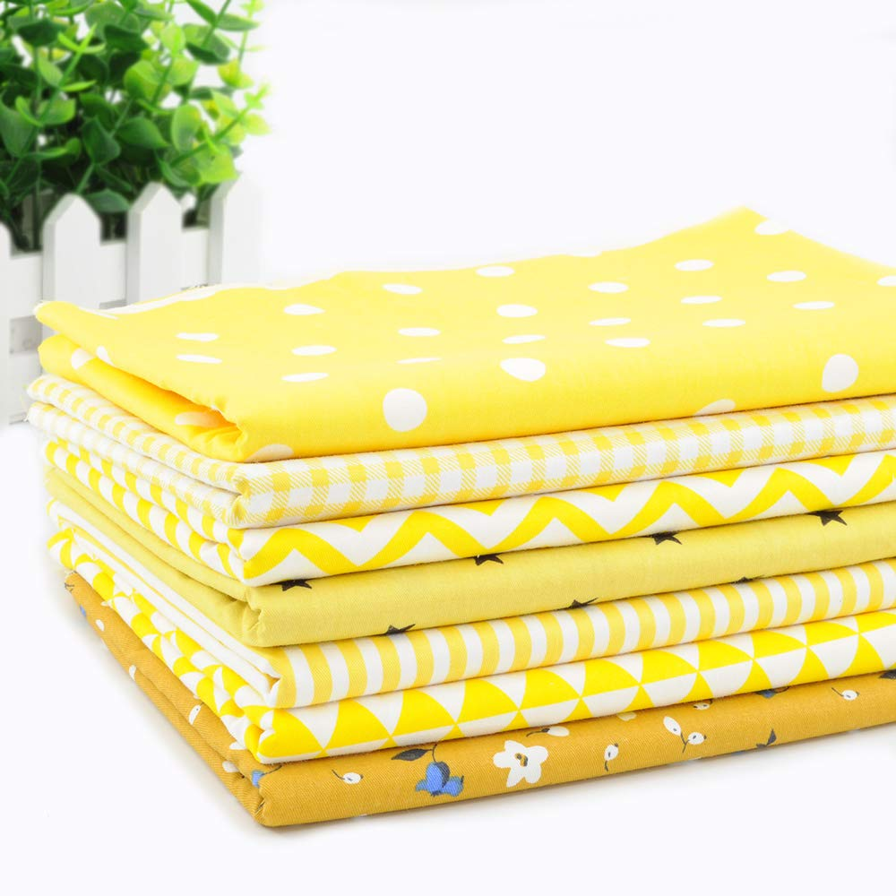 Fat Quarter Fabric Bundles Pre-Cut Quilting Cotton Twill Printed Assortments,Good Quality Craft Cloth Bundle Squares,DIY for Sewing Crafting Rose Flavor(Yellow,18 by 20.5Inch)