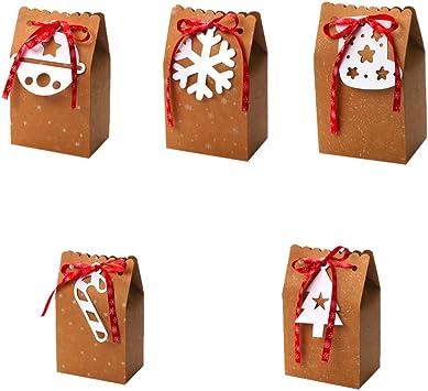 Amosfun 5 piezas de papel kraft caja de navidad bolsa de regalo de ...