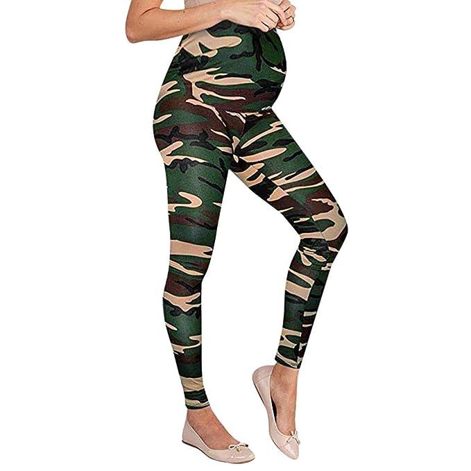 SUNNSEAN Pantalones Leggings de Maternidad para Mujer, Camuflaje sin Costuras Pantalones de Embarazo Respirable Cómodo Casual Pantalones Deportivos Leggings ...