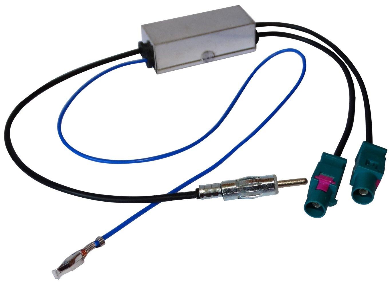 AERZETIX: Adaptateur sé parateur d'antenne auto autoradio double FAKRA-DIN pour auto voiture SK2-C12000-R851