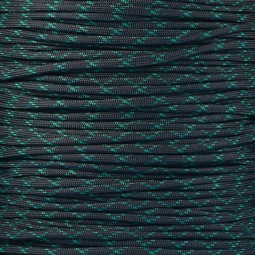 Paracord Planet 550 Cord Type III 7 Strand Paracord 250 Foot Spool - Black w/ Kelly Green