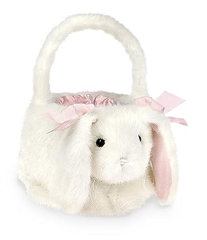 Bearington Plush Bunny Rabbit Kids Easter Egg Basket White 12quot