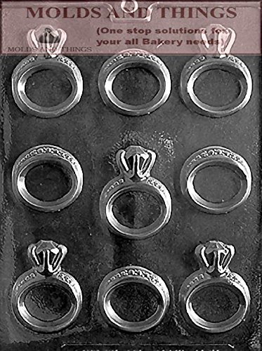 (MOLDS AND THINGS Engagement/Wedding Ring Wedding Chocolate Candy Mold with Copywrited molding Instructions)