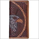 4 1/4 x 3 1/2 3D TAN WESTERN MENS RODEO HAND TOOLD LEATHER WALLET EAGLE DESIGN