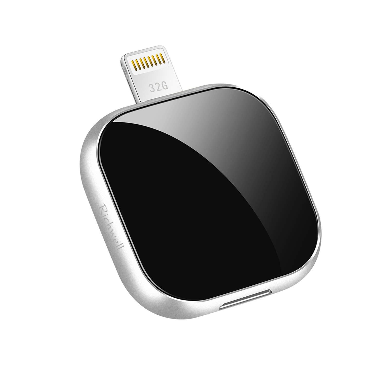USB Flash Drive 32GB USB Stick Apply to iPhone Memory Stick External Expansion Storage Photo Stick 3in1 Richwell Compatible iPhone iPad iPod Mac iOS Android and PC External Drive (Black32GBH-FK)