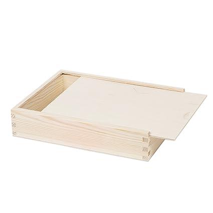 Caja de almacenamiento (Madera – Caja para fotos Caja de madera tapa 25 X 19