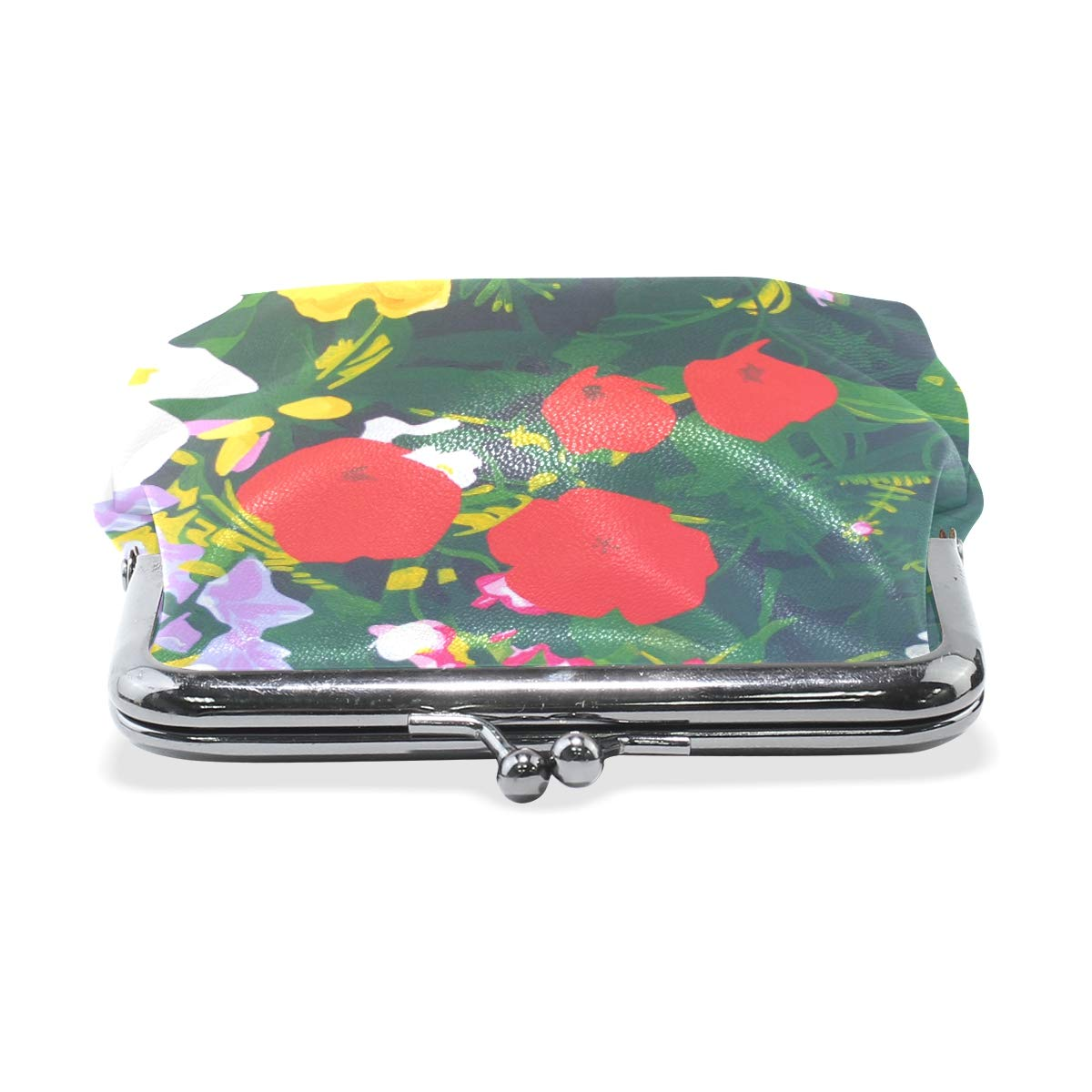 Womens Leather Kiss Lock Double-Sided Morning Glory Coin Purse Wallets