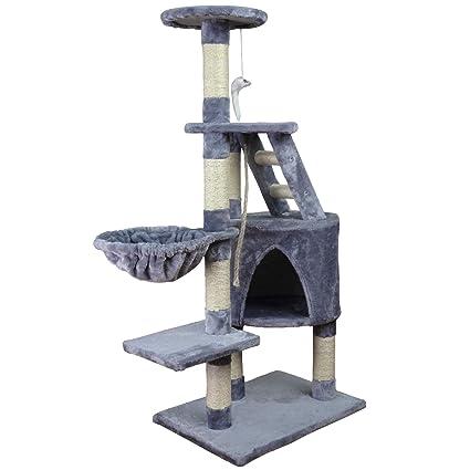 Wellhome Arbol para Gatos Escalador para Gatos Sisal Cubierto Rascador para Gatos con Hamaca Plataforma de