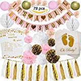 Baby Shower Decorations | Baby Shower & It's A Girl Banner | Paper Lanterns | Pom Poms | Honeycomb Balls | Tassels | Balloons | Pink/White / Gold | Oh Baby Napkins | Advice Game Cards | Kit 79 (79)