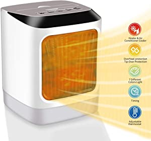 Space Heater for Home Office Indoor Electric Heaters Portable Handy Heater Plug in Adjustable Temperature/Thermostat/Timer/7 colors light/Air Cooler/Overheat Protection & Tip-Over Protection