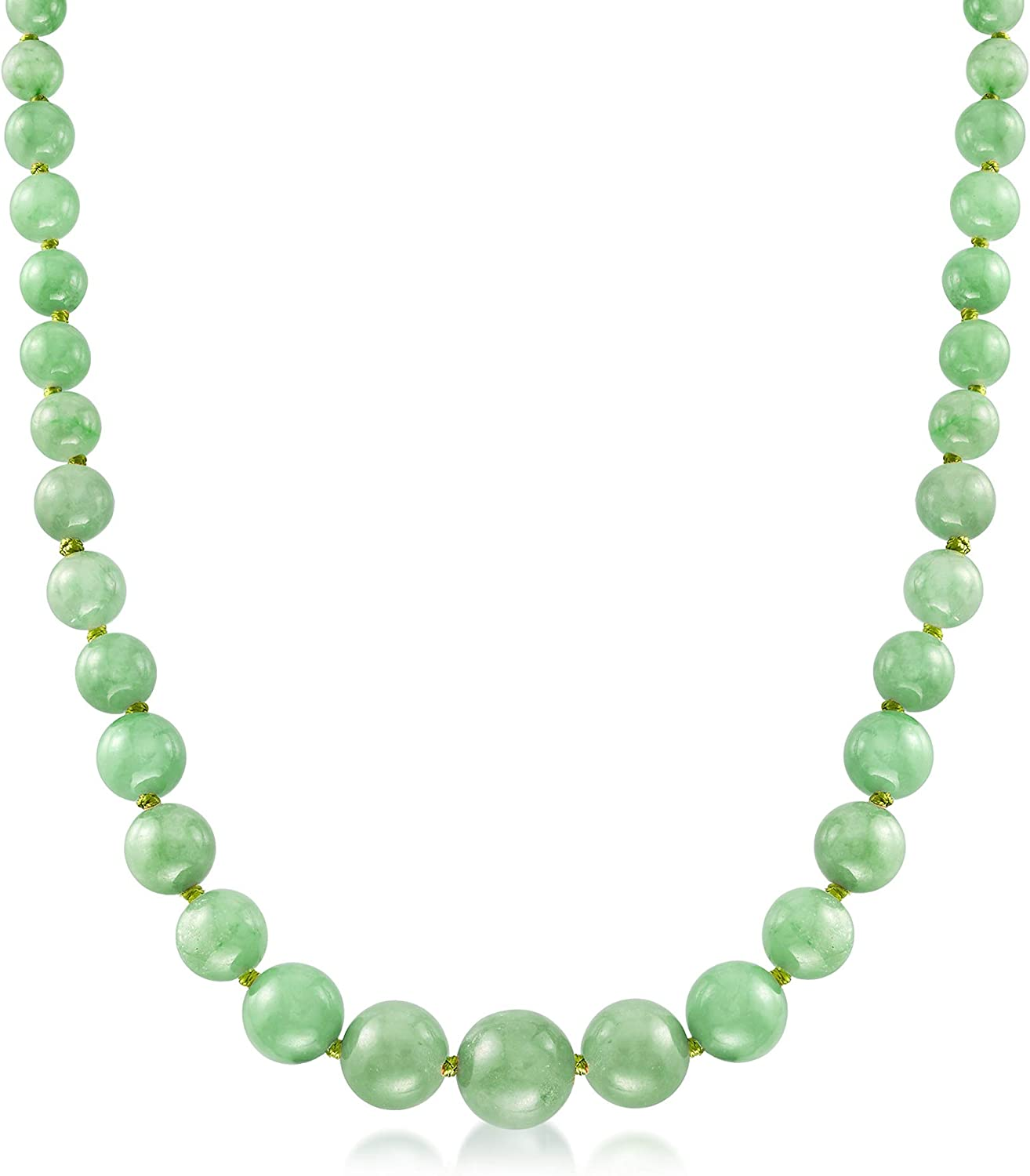 Ross-Simons 6-13mm Graduated Green Jade Bead Necklace With 14kt Yellow Gold
