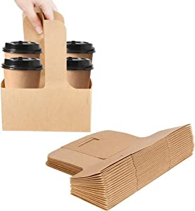 Karderon Kraft Drink Carrier with Handles (40 Pack) - 2 Cups or 4 Cups Assemblable Beverage Cup Carriers Great for All Your Beverage Delivery