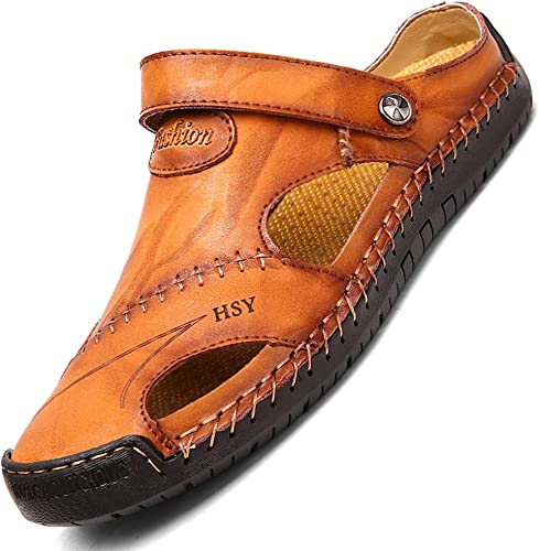 Mens summer sandals round toe casual beach sports shoes leather slippers slip on